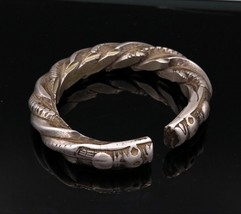 VINTAGE OLD SOLID SILVER MEN'S BANGLE BRACELET KADA ENGRAVED TRIBAL JEWE... - $517.27
