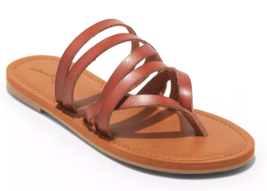 NEW Universal Thread Women's Cognac Maritza Multi Strap Toe Slide Sandals