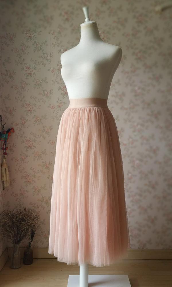 Blush High Waisted Maxi Tulle Skirt Full Length Blush Bridesmaid Skirt NWT