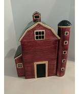 Red Barn With Silo Ceramic Cookie Jar Excellent Condition - $57.37