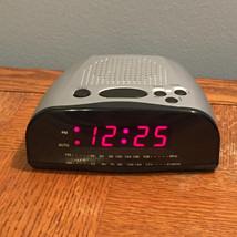 Alarm Clock Radio Black & Silver with Red Display ~Nice ! - $12.59