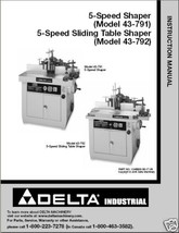Delta 2 Speed Shaper 43-791 & 43-792 Instruction Manual - $10.88