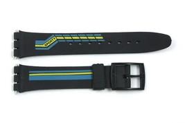 17mm Blu/Giallo Righe PVC Ricambio Orologio con Cinturino per Swatch Oro... - $9.89