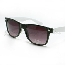 80's Classic Horn Rim Sunglasses Retro 2-Tone Colors Fashion BLACK WHITE - $6.88