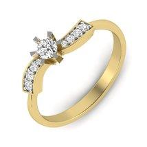 Anniversary Gift For Wife 0.30Ct Yellow Gold Swarovski White Diamond Ring Gift  - $469.99