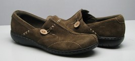 Clarks Bendables Suede Leather SHOES Woman's 9 M Olive Green Button Accent - $15.83