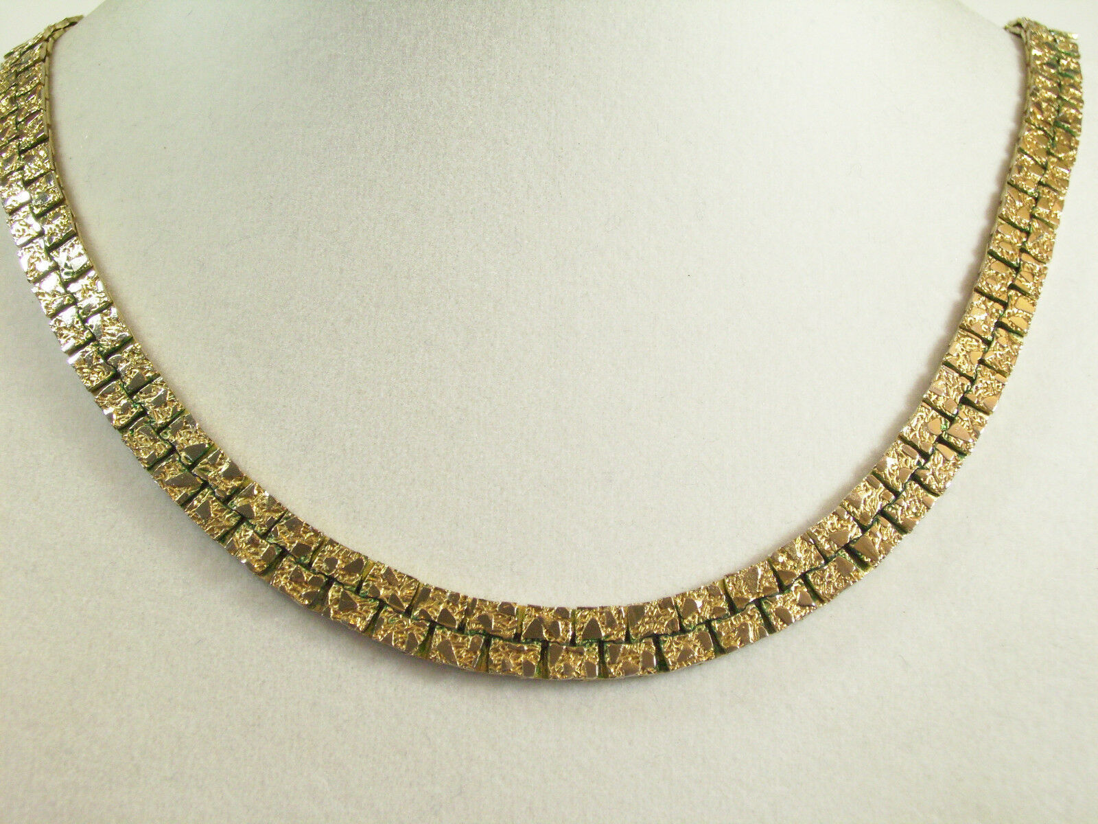 Gold NUGGET Style Link Necklace Plated Chain Vintage Classic Office Career image 3