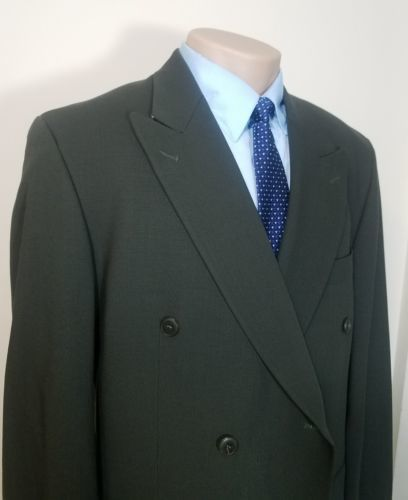 BACHRACH MEN'S DOUBLE-BREASTED SPORTS COAT OLIVE GREEN PURE WOOL MADE IN CANADA