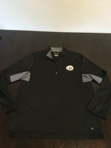 Primary image for Pittsburgh Steelers Black NFL Team Apparel Quarter Zip Long Sleeve Shirt Medium
