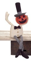 "Melrose 25"" Spooky Sitting Bendable Pumpkin Man Halloween Table Decor - £37.25 GBP"