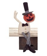 "Melrose 25"" Spooky Sitting Bendable Pumpkin Man Halloween Table Decor - £37.67 GBP"