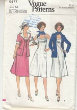 Vogue 9477 Misses Sun Dress Jacket Sewing Pattern 14 - $12.86