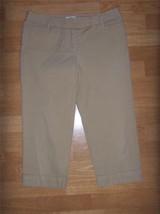 Womens ANN TAYLOR LOFT Tan Khaki Marisa Pants CAPRIS Cropped 6P Petite W... - $14.50