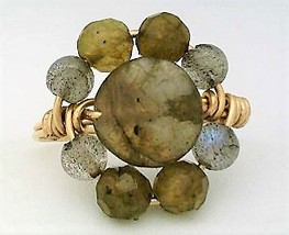 Spectrolite Gemstone Bead Gold Wire Wrap Ring sz 8 - $12.28