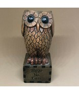 """Vintage Retro Young Incorporated Resin Owl Hear No Evil Figurine 4.5"""" Ships Free - $13.00"""