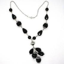Necklace Silver 925, Onyx Black round, Drop, Bunch Pendant image 2
