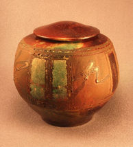 RAKU Unique Ceramic Individual Adult Funeral Cremation Urn #A003 image 3