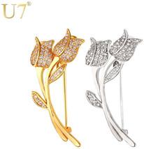 U7 Brand Luxury Rose Flower Crystal Brooch Gold/Silver Color Cubic Zirco... - $18.80