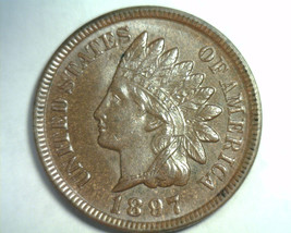 1897 Indian Cent Penny Choice Uncirculated / Gem Brown Ch. Unc. / Gem Bn - $105.00