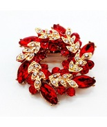 Red Flowers Shape Brooch Pins Chinese Redbud Scarf Buckle Garment Brooches - $10.00