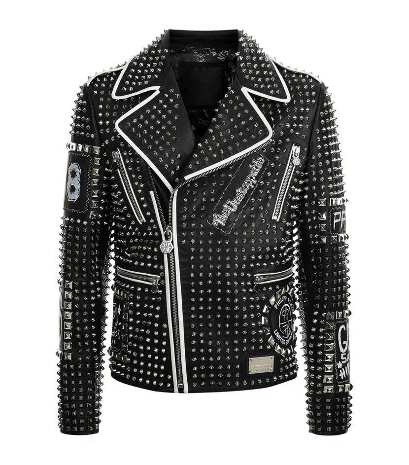 New Handmade Men Stitched Studded Fashion Punk Rockers Black Leather Jacket for sale  USA