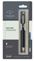Parker Vector Estándar Acero Inoxidable Pluma Estilográfica - Negro - (Azul Ink - $18.51