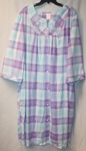 NEW WOMENS PLUS SIZE 4X PASTEL PURPLE AQUA SNAP UP HOUSE BATH ROBE DRESS... - ₹1,392.01 INR