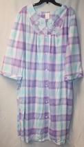 NEW WOMENS PLUS SIZE 4X PASTEL PURPLE AQUA SNAP UP HOUSE BATH ROBE DRESS... - $19.34
