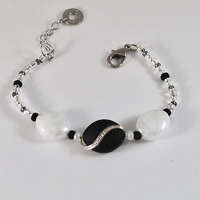 BRACELET ANTICA MURRINA VENEZIA WITH MURANO GLASS BLACK AND WHITE ADJUSTABLE