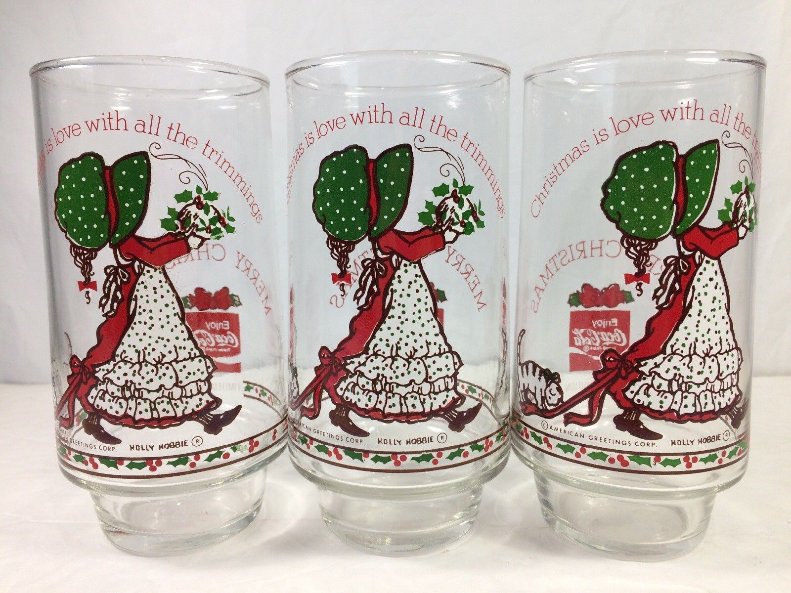Holly Hobbie Christmas is Love with Trimmings Drinking Glass Coca Cola 3pc 16oz