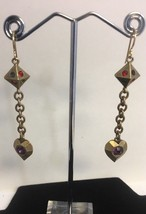 Patricia Locke Earrings Early Signed Goldtone Swarovski Drop Modernist - $62.81