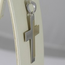 18K WHITE AND YELLOW GOLD CROSS STYLIZED VERY LUSTER  MADE IN ITALY 1.42 INCHES image 2