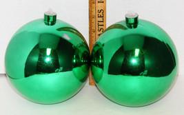 "2 Green HUGE 5"" Plastic Christmas Ornaments - $12.00"