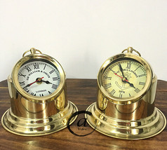 Gift For Mother / Father Mini BEDROOM/OFFICE Clocks Brass Nautical Clock Analog - $53.48