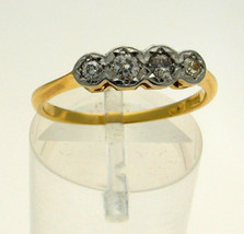 Vintage 18 Carat Gold 4 Stone 20 Point, Fifth Carat Diamond Ring - $184.14