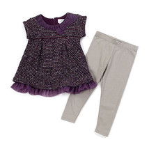 Size 4T girls 2 pc leggings set sequin top with pants B639 Toddler  - $11.99