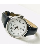 Timex Easy Reader Women's Retro Classic Watch Silver Black Leather T2H33... - $29.70