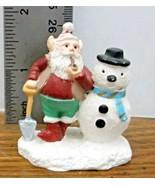 Christmas Village Accessory Santa's Elf with Snowman & Shovel Resin VGCo... - $6.92