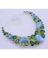 Larimar-Peridot Silver Overlay Handmade Jewelry Necklace 87 Gr. Fo-197 - $63.36