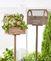 Set of 2 - Wood Garden Stake Box Planters w Wire Mesh Top - $118.79