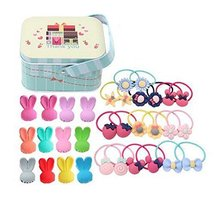 Random of Children Hairpins Lovely Hair circle Suit and Jewelry Box,Rabbit Clips