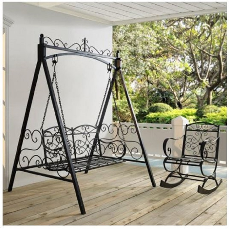 Black 4' Metal Porch Swing w/ Stand Durable Outdoor Swing for Deck Patio Garden image 4