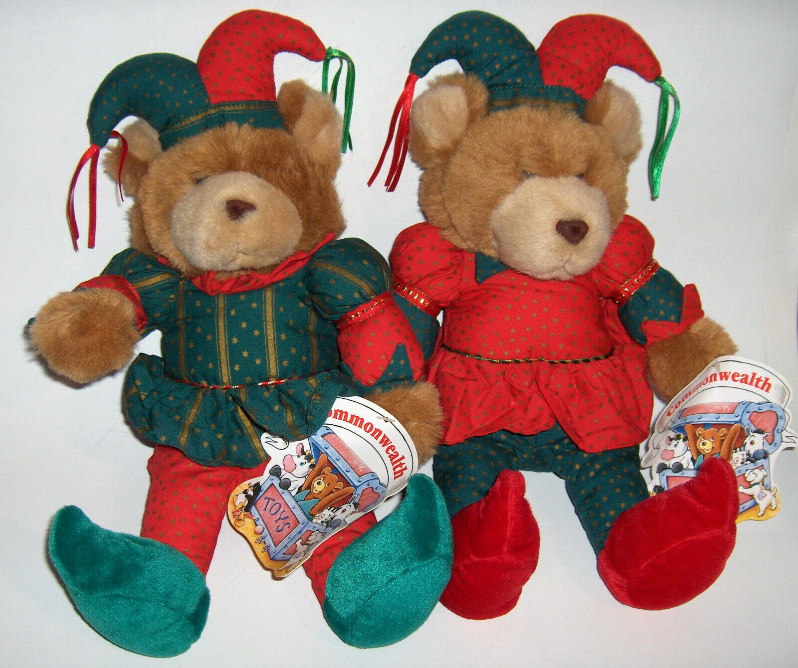 Primary image for VINTAGE COMMONWEALTH BROWN TEDDY BEARS CHRISTMAS STUFFED ANIMAL PLUSH TOY