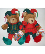 VINTAGE COMMONWEALTH BROWN TEDDY BEARS CHRISTMAS STUFFED ANIMAL PLUSH TOY - $49.49