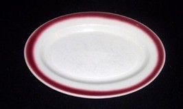 "Vtg BUFFALO CHINA Restaurant Ware 10 1/4"" Platter w/Burgundy Red Spray M... - $9.89"