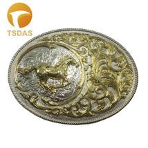 Women Horse Racing Cowboy Buckle Metal Golden Oval Belt Buckle - $14.50