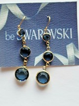 Vintage Swarovski Elements 10K Gold Plated Dangle Earrings Navy Crystals  - $14.00