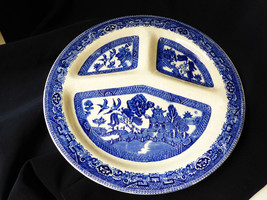 VTG Willow made in England  Pottery Blue willow Transferware divided dish plate - $19.80