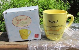 NIB Russ Berrie Closest Friend mean world to me coffee cup mug yellow nature - $9.99