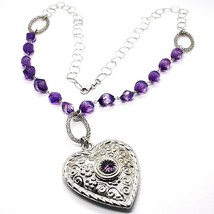 SILVER 925 NECKLACE, FLUORITE FACETED PURPLE, HEART WITH FLOWERS, 70 CM image 1